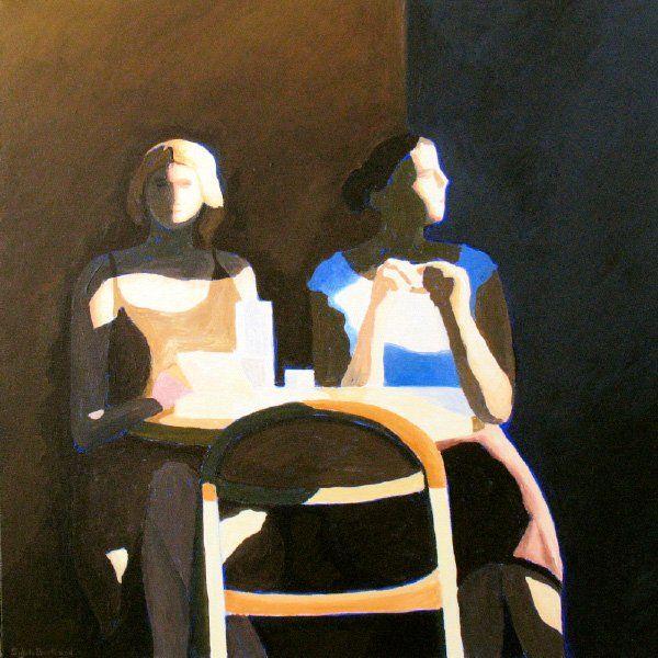 2-jeunes-filles-lumiere-et-cafe-bar-bistrot-silhouettes-dans-la-rue-peinture-clair-obscur-sylvie-bertrand-peintre-vieux-nice-art-tableau-galerie-gallery