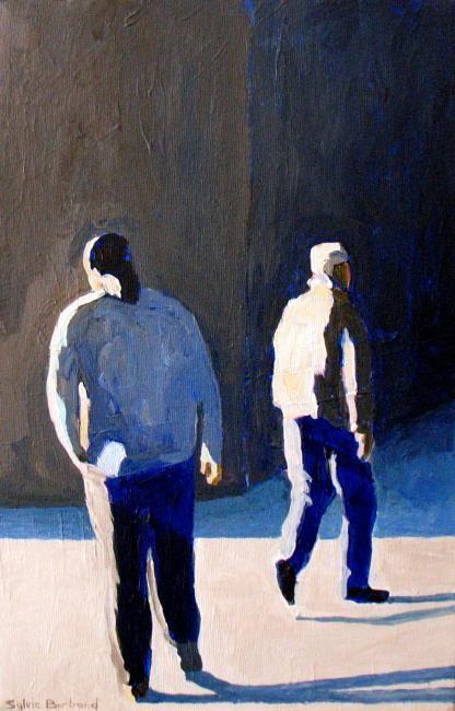 2-silhouettes-deux-hommes-dans-la-rue-passants-lumiere-clair-obscur-peinture-sylvie-bertrand-peintre-vieux-nice-taleau-art-galerie-gallery