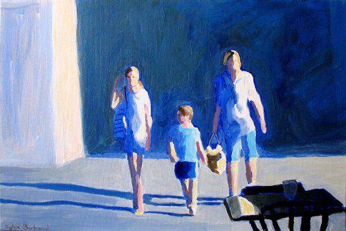 2-silhouettes-et-bleu-dans-la-rue-passants-inspiré-du-vieux-nice-sylvie-bertrand-peintre-nice