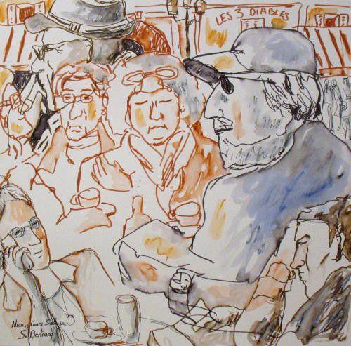 28-personnages-au-cafe-nice-au-cafe-cours-saleya-dessin-aquarelle-caricature-sylvie-bertrand-peintre-vieux-nice-atelier-galerie-peinture-gallery-painting-painter