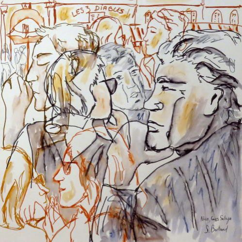 30-personnages-au-cafe-nice-au-cafe-cours-saleya-dessin-aquarelle-caricature-sylvie-bertrand-peintre-vieux-nice-atelier-galerie-peinture-gallery-painting-painter