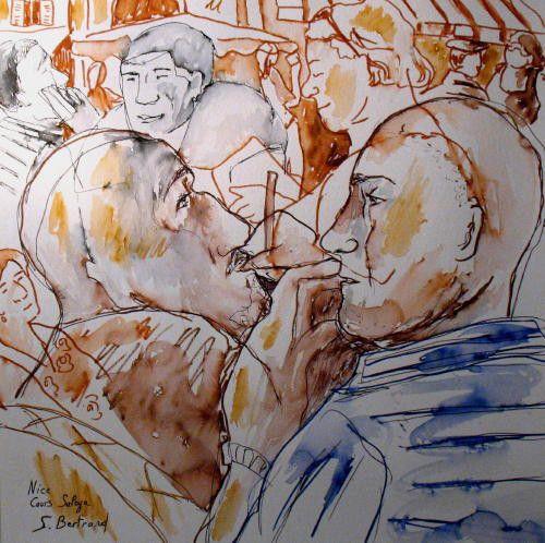 33-personnages-au-cafe-nice-au-cafe-cours-saleya-dessin-aquarelle-caricature-sylvie-bertrand-peintre-vieux-nice-atelier-galerie-peinture-gallery-painting-painter