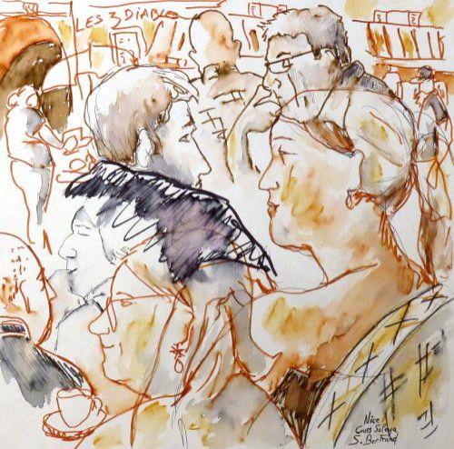 38-personnages-au-cafe-nice-au-cafe-cours-saleya-dessin-aquarelle-caricature-sylvie-bertrand-peintre-vieux-nice-atelier-galerie-peinture-gallery-painting-painter