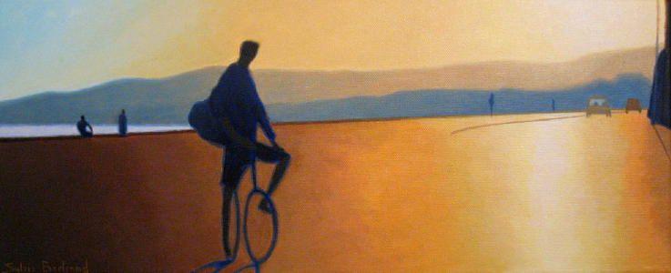 cycliste-inspire-du-quai-rauba-capeu-nice-sylvie-bertrand-peintre-peinture-image-photo-lumiere-contre-jour-clair-obscur-art-galerie-gallery-personnage-mer-ligne-d-horizon