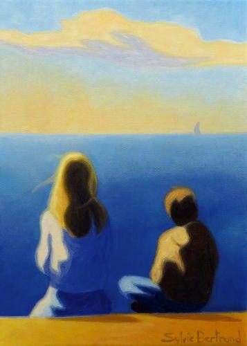 deux-silhouettes-devant-la-mer-inspire-de-la-promenade-des-anglais-nice-mère-et-enfant-devant-la-mer-sylvie-bertrand-peintre-nice-peinture-tableau-painter-paintig-atelier-galerie-vieux-nice-gallery-art-artiste