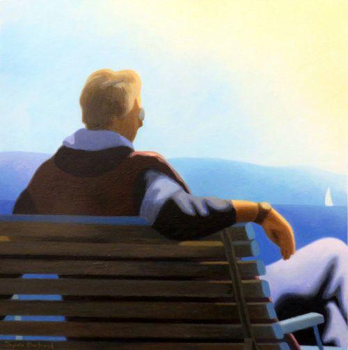 devant-la-mer-homme-assis-sur-un-banc-inspiré-de-la-promenade-des-anglais-lumière-nice-sylvie-bertrand-artiste-peintre-peintures-tableau-painter-painting-galerie-gallery-art-vieux-nice