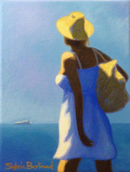 jeune-femme-devant-la-mer-inspire-de-la-promenade-des-anglais-nice-sylvie-bertrand-artiste-peintre-galerie-nice-peinture-tableau-painting-painter-art-gallery