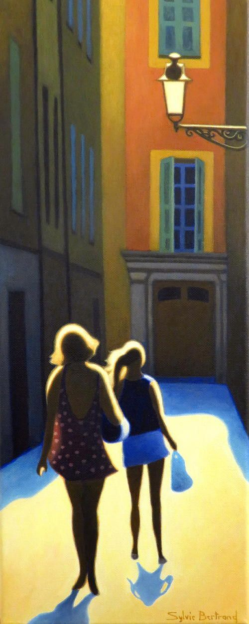 silhouettes-et-lumiere-inspire-du-vieux-nice-passantes-rue-ruelle-et-lumiere-atelier-sylvie-bertrand-nice-peintre-peinture-tableau-painter-painting-galerie-gallery-art