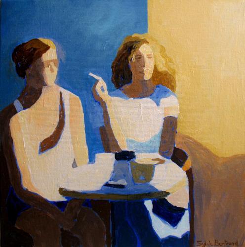 2-au-cafe-jeune-fille-a-la-cigarette-bar-bistrot-dans-la-rue-silhouette-lumiere-peinture-sylvie-bertrand-artiste-peintre-vieux-nice-tableau-art-galerie-gallery-