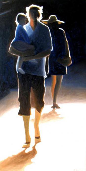 2-clair-obscur-1-silhouettes-dans-la-rue-lumiere-passants-peinture-tableau-sylvie-bertrand-peintre-vieux-nice-art-galerie-gallery-separation-divorce