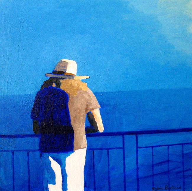 2-devant-la-mer-silhouette-au-chapeau-promenade-des-anglais-peinture-tableau-sylvie-bertrand-peintre-nice
