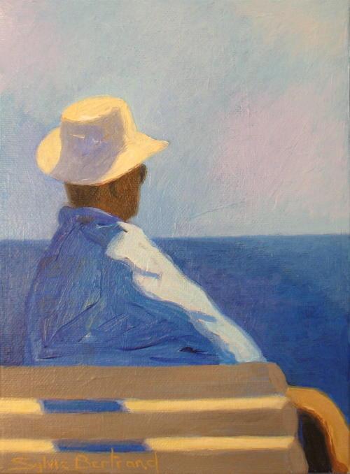 2-homme-au-chapeau-devant-la-mer-promenade-des-anglais-sylvie-bertrand-artiste-peintre-vieux-nice-peinture-art-tableau-atelier-galerie-gallery