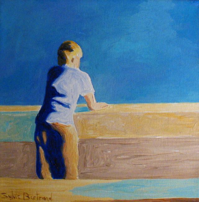 2-petit-garçon-devant-la-mer-sylvie-bertrand-artiste-peintre-nice-quai-rauba-capeu-promenade-des-anglais-peinture-tableau-art-atelier-galerie-gallery