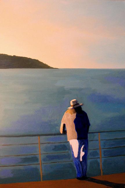 2-silhouette-devant-la-mer-et-mont-boron-homme-au-chapeau-sylvie-bertrand-artiste-peintre-vieux-nice-art-atelier-galerie-gellery-peinture