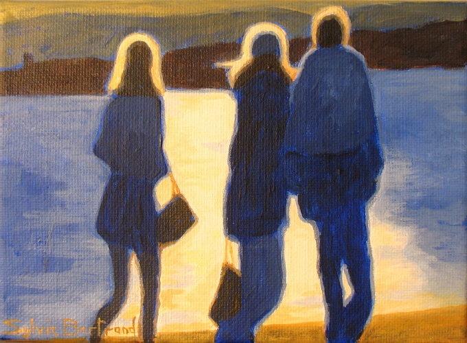 2-silhouettes-promenade-des-anglais-peinture-tableau-sylvie-bertrand-artiste-peintre-vieux-nice-coucher-de-soleil-art-galerie-gallery