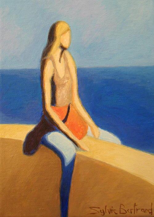 jeune-femme-devant-la-mer-sylvie-bertrand-peintre-nice-quai-rauba-capeu-promenade-des-anglais-tableau
