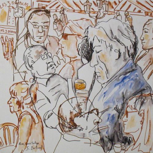 1-nice-au-cafe-cours-saleya-dessin-aquarelle-caricature-sylvie-bertrand-peintre-vieux-nice-atelier-galerie-peinture-gallery-painting-painter