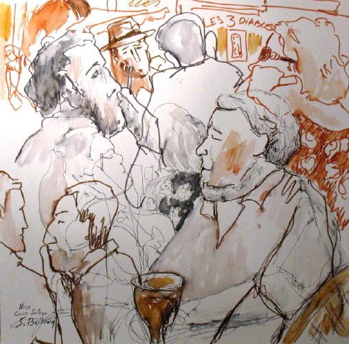 2-nice-au-cafe-cours-saleya-dessin-aquarelle-caricature-sylvie-bertrand-peintre-vieux-nice-atelier-galerie-peinture-gallery-painting-painter