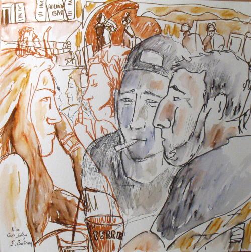 3-nice-au-cafe-cours-saleya-dessin-aquarelle-caricature-sylvie-bertrand-peintre-vieux-nice-atelier-galerie-peinture-gallery-painting-painter
