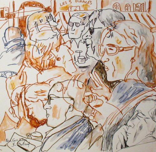 31-personnages-au-cafe-nice-au-cafe-cours-saleya-dessin-aquarelle-caricature-sylvie-bertrand-peintre-vieux-nice-atelier-galerie-peinture-gallery-painting-painter