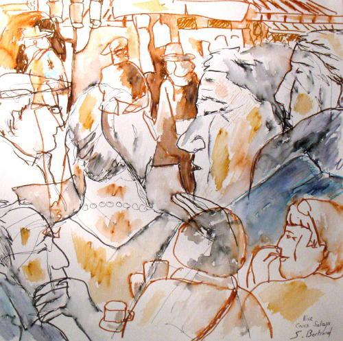 32-personnages-au-cafe-nice-au-cafe-cours-saleya-dessin-aquarelle-caricature-sylvie-bertrand-peintre-vieux-nice-atelier-galerie-peinture-gallery-painting-painter