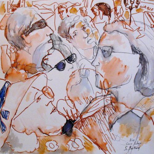 35-personnages-au-cafe-nice-au-cafe-cours-saleya-dessin-aquarelle-caricature-sylvie-bertrand-peintre-vieux-nice-atelier-galerie-peinture-gallery-painting-painter