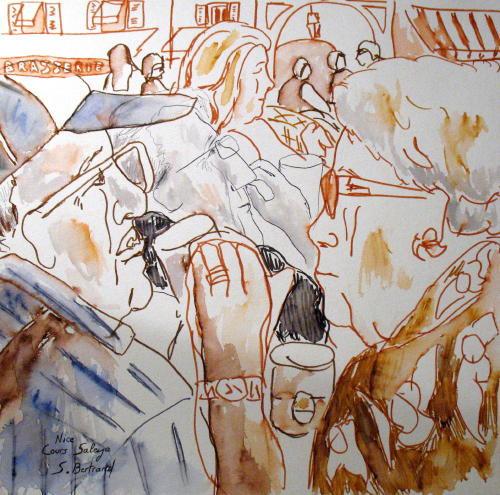 36-personnages-au-cafe-nice-au-cafe-cours-saleya-dessin-aquarelle-caricature-sylvie-bertrand-peintre-vieux-nice-atelier-galerie-peinture-gallery-painting-painter