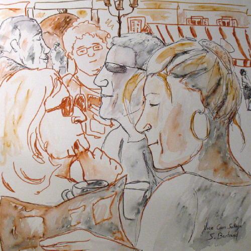6-nice-au-cafe-cours-saleya-dessin-aquarelle-caricature-sylvie-bertrand-peintre-vieux-nice-atelier-galerie-peinture-gallery-painting-painter