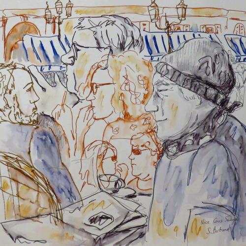 9-nice-au-cafe-cours-saleya-dessin-aquarelle-caricature-sylvie-bertrand-peintre-vieux-nice-atelier-galerie-peinture-gallery-painting-painter