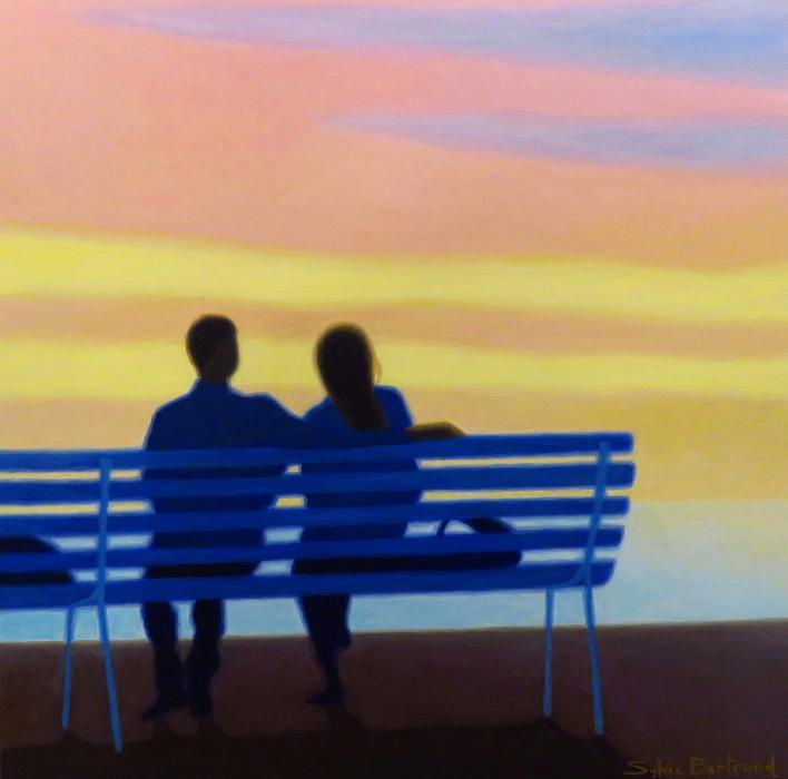 coucher-de-soleil-devant-la-mer-couple-sylvie-bertrand-peintre-painter-nice-promenade-des-anglais-banc-peinture-painting