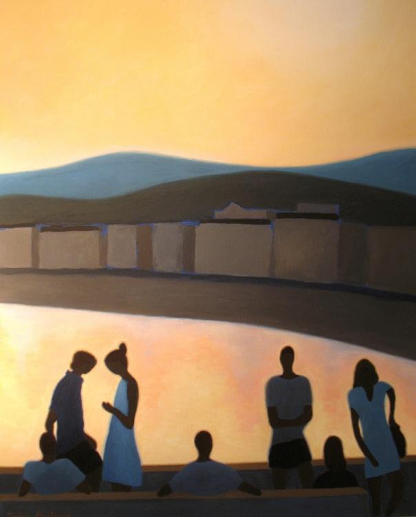 coucher-de-soleil-et-silhouettes-inspire-du-quai-rauba-capeu-nice-sylvie-bertrand-artiste-peintre-peinture-tableau-atelier-galerie-art-tableau