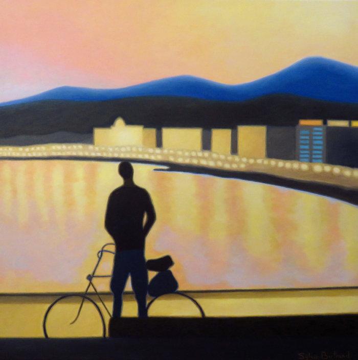 cycliste-et-coucher-de-soleil-inspire-du-quai-rauba-capeu-nice-sylvie-bertrand-peintre-peintures-painter-paintings