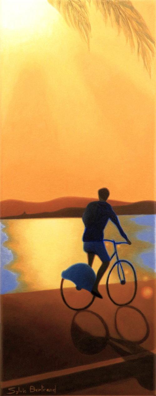 cycliste-sous-le-soleil-inspire-de-la-promenade-des-anglais-nice-sylvie-bertrand-peintre-vieux-nice-image-silhouette-lumiere-photo-peinture-jaune-orange-tableau-artiste-peintre-vieux-nice-art-galerie-gallery
