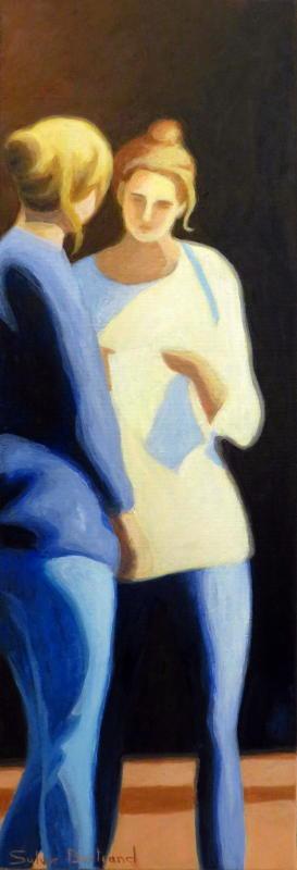 deux-amies-au-coin-de-la-rue-passante-silhouette-et-lumiere-dans-la-rue-inspiré-du-vieux-nice-atelier-sylvie-bertrand-nice-peintre-peinture-tableau-painter-painting-galerie-gallery-art-