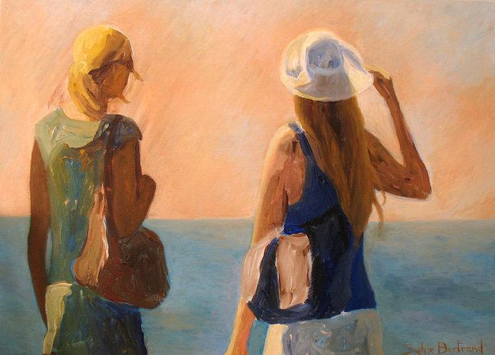 deux-silhouettes-devant-la-mer-inspire-de-la-promenade-des-anglais-silhouette-de-femme-devant-la-mer-lumiere-et-vent-peinture-tableau-sylvie-bertrand-atelier-artiste-peintre-nice-art-galerie-gallery