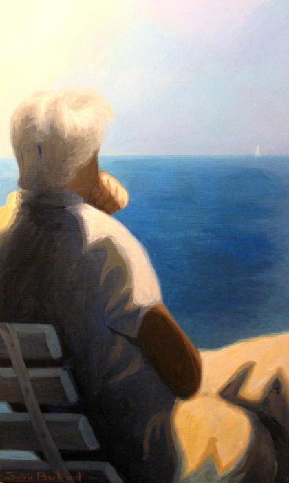 devant-la-mer-homme-assis-sur-un-banc-inspiré-de-la-promenade-des-anglais-nice-sylvie-bertrand-artiste-peintre-peintures-tableau-painter-painting-galerie-gallery-art-vieux-nice