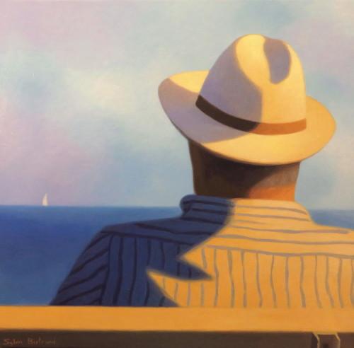 devant-la-mer-homme-au-chapeau-sur-un-banc-inspire-de-la-promenade-des-anglais-nice-sylvie-bertrand-peintre-nice-image-photo-peinture-tableau-artiste-peintre-vieux-nice-art-galerie-gallery