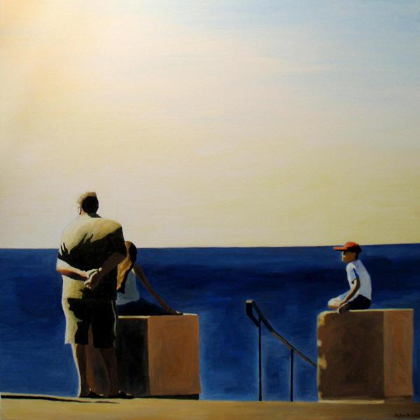 en-attendant-silhouettes-devant-la-mer-inspire-de-la-promenade-des-anglais-peinture-tableau-sylvie-bertrand-artiste-peintre-vieux-nice-art-galerie-gallery-painter-painting-picture