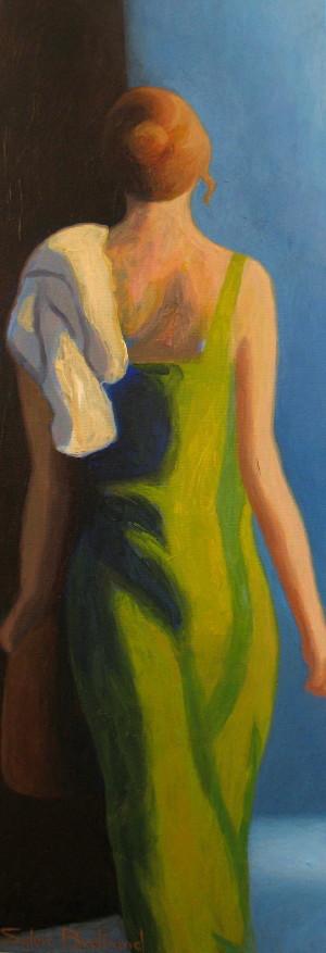 femme-a-la-robe-verte-passante-silhouette-et-lumiere-dans-la-rue-inspiré-du-vieux-nice-atelier-sylvie-bertrand-nice-peintre-peinture-tableau-painter-painting-galerie-gallery-art-