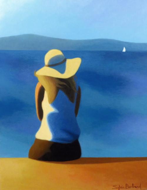 jeune-fille-au-chapeau-devant-la-mer-inspire-de-la-promenade-des-anglais-nice-sylvie-bertrand-artiste-peintre-galerie-nice-peinture-bleu-tableau-painting-painter-art-gallery