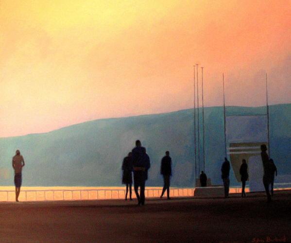 lumiere-du-soir-et-silhouettes-promenade-des-anglais-Sylvie-Bertrand-peintre-nice-peintures-tableaux-atelier-galerie-painter-painting-gallery-art-