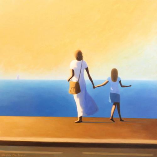 mere-et-fille-devant-la-mer-inspire-de-la-promenade-des-anglais-nice-sylvie-bertrand-artiste-peintre-galerie-nice-peinture-lumière-soleil-jaune-silhouettes-tableau-painting-painter-art-gallery