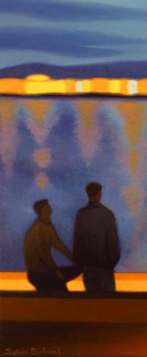 reverie-de-nuit-inspire-du-quai-rauba-capeu-nice-deux-amis-devant-la-mer-sylvie-bertrand-peintre-nice-peinture-tableau-art-galerie-vieux-nice-painter-painting-gallery