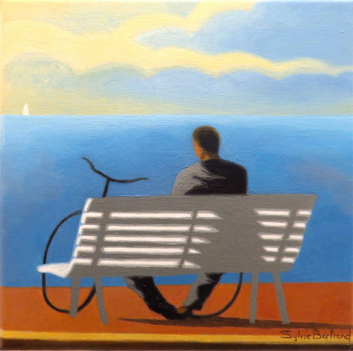 reverie-devant-la-mer-homme-au-velo-assis-sur-un-banc-inspiré-de-la-promenade-des-anglais-lumière-nuages-nice-sylvie-bertrand-artiste-peintre-peintures-tableau-painter-painting-galerie-gallery-art-vieux-nice