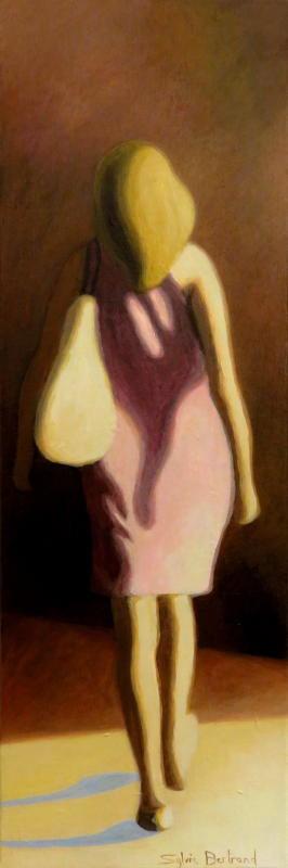 silhouette-et-lumiere-femme-a-la-robe-rose-passante-silhouette-et-lumiere-dans-la-rue-inspiré-du-vieux-nice-atelier-sylvie-bertrand-nice-peintre-peinture-tableau-painter-painting-galerie-gallery-art-