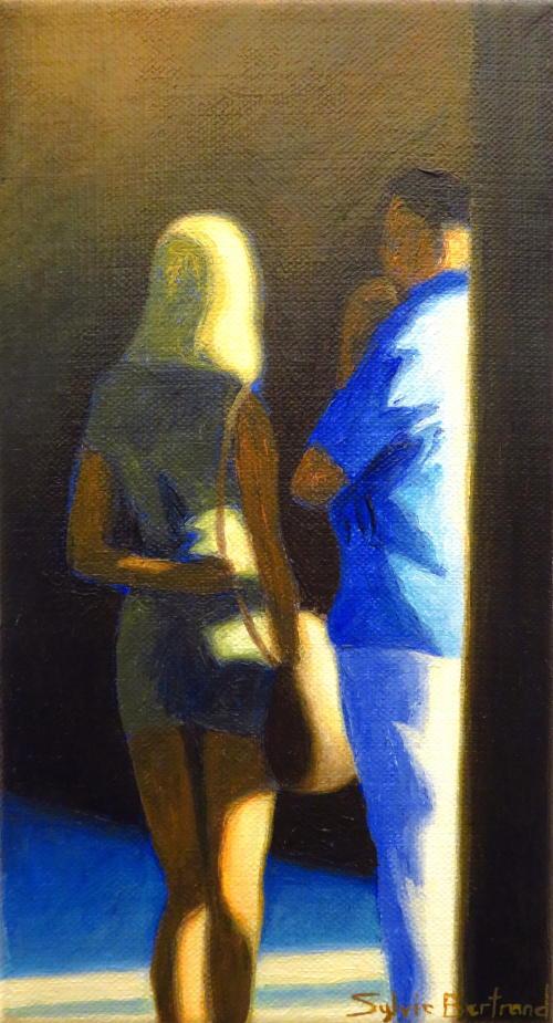 silhouettes-au-coin-de-la-rue-inspire-du-vieux-nice-passants-rue-et-lumiere-contrast-atelier-sylvie-bertrand-nice-peintre-peinture-tableau-painter-painting-galerie-gallery-art