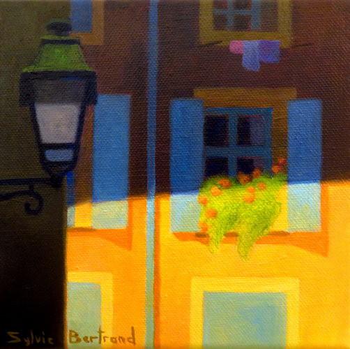 vieux-nice-jeu-de-lumiere-facade-orange-et-volets-bleus-inspire-du-vieux-nice-architecture-vieille-ville-rue-ruelle-atelier-sylvie-bertrand-nice-peintre-peinture-tableau-painter-painting-galerie-gallery-art